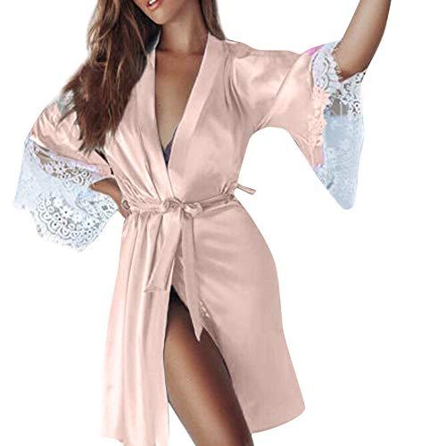 - Emimarol PJ Women's Sexy Silk Kimono Dressing Babydoll Lace Lingerie Belt Bath Robe Nightwear Beige