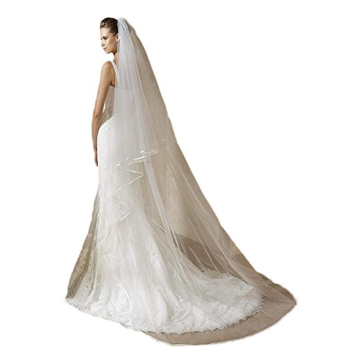 (Libridal 2T Cut Edge Wedding Veil Elbow Fingertip/Cathedral Length Bridal Veil with Comb White2)