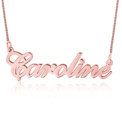 Ouslier 925 Sterling Personalized Silver Name Necklace Pendant Custom Made with Any Names 16'-18' Chain (Rose Gold)