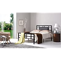 Hodedah Complete Metal Queen-Size Bed with Headboard, Footboard, Slats and Rails in Black