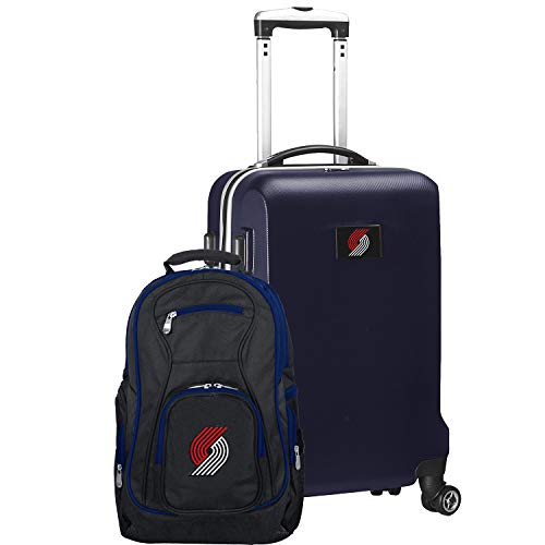 NBA Portland Trail Blazers Deluxe 2-Piece Backpack & Carry-On Set, Navy