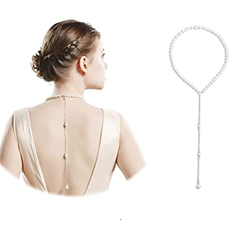 Simulated Pearl Back Drop Necklace Back Necklaces For Wedding Bridals Gift N305