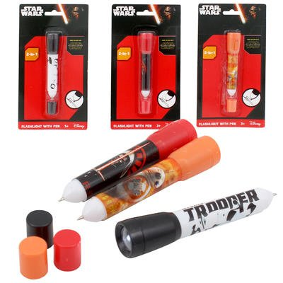 [Set of 3 Star Wars Episode 7 Flashlights with Pen 2-in-1. Includes Kylo Ren, Droid BB8, and] (Luke Skywalker Dark Side Costume)