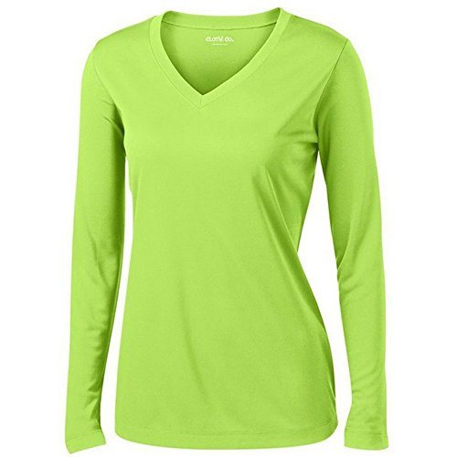 Clothe Co. Ladies Long Sleeve V Neck Moisture Wicking Athletic Shirt, Lime Shock, M