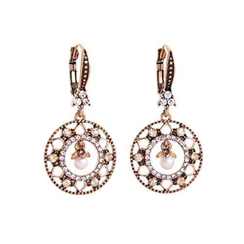 Geetobby Fashion Vintage Style Geometric Flowers Drops Pearl Gem Crystal Earrings Ladies Jewely Great for Gift ()