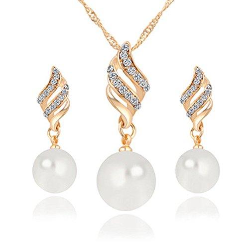 - Onefa Women Party Necklace, Women Luxury Princess Bridal Jewellery Set Spiral Shaped Pearl Stud Earrings & Necklace