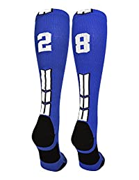 Royal/White Player Id Custom Over The Calf Number Socks (Pair)