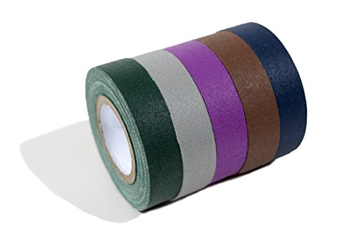 Professional Grade Dark Colored Gaffer Tape - 5 pack. Cloth matt finish in purple, green, gray, blue, & brown. Great for stage, film, parties and art projects. Each gaff roll is 18 feet by .5 inches.
