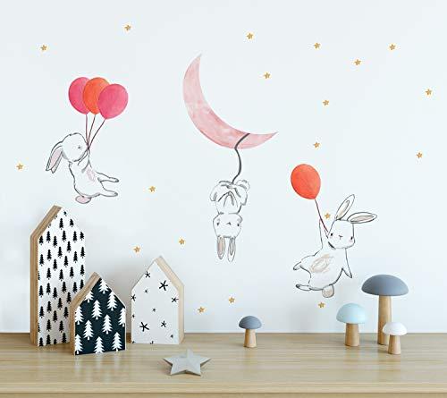 (Murwall Cartoon Rabbit Wall Decal Colorful Balloon Wall Sticker Pink Moon Peel n Stick Little Stars Decals for Nursery Room Decor Kidsroom Babyroom Playroom)