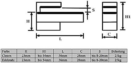 Chrom 2x Regalhalter in zwei Oberfl/ächen Chrom /& Edelstahl