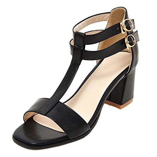 Aiyoumei Damen Offen Blockabsatz T Spangen Sandalen Mit 6cm Absatz