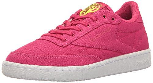 Reebok Womens Club C 85 Eh Fashion Sneaker Mania Rosa / Solare Giallo / Bianco