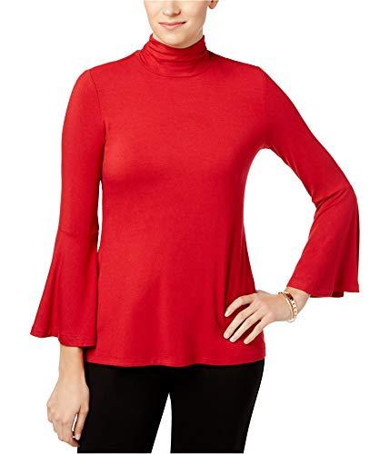 Alfani Mock-Neck Bell-Sleeve Top (Banner Red, ()
