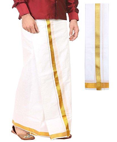 Kurta Dhoti (kaatru Free Size Premium Dhoti (Dhoti Length 3.65 Meters) and Angavastram - 1 Inch Golden Border)