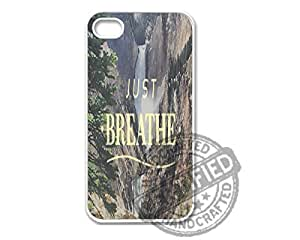 Apple iPhone 5/5s WHITE PLASTIC Case Sweet Hipster Inspirational Quote Just Breathe 2 Design For Apple iPhone 5/5s Plastic Case WHITE