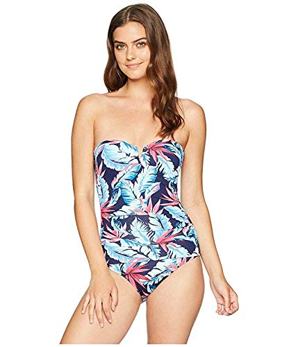 81b0d8c867bc Tommy Bahama Womens Palms Paradise V Wire Bandeau One-Piece Swimsuit Mare  Navy Size 16