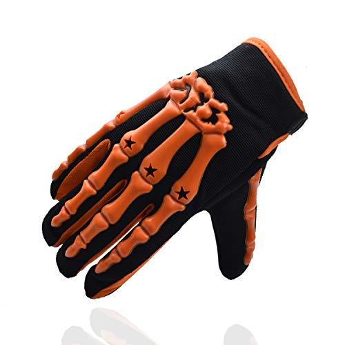 Chitone Full Finger Skeleton Motocross Riding Gloves for Motorcycle (X-Large, orange)