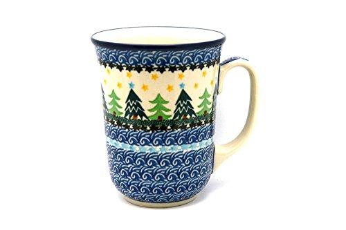 Polish Pottery Mug - 16 oz. Bistro - Christmas Trees (Pottery Christmas Polish Tree)