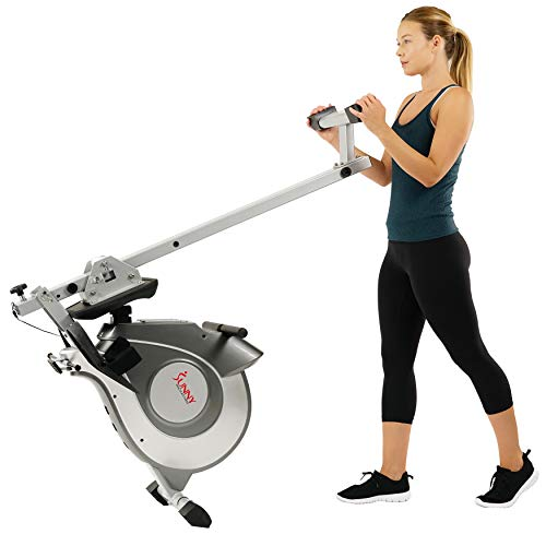 Sunny Health & Fitness Magnetic Rowing Machine with LCD Display, 8 Resistance Levels, 44 Inch Rail Inseam and 250 LB Max Weight - SF-RW5515