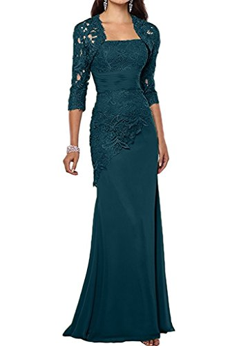 Jacket Formal Women's Long Chiffon Formal Lace Teal with Green Mother Mermaid DMDRS Dress xq4nzYZFZf