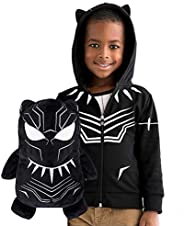 Cubcoats Black Panther - 2-in-1 Transforming Hoodie and Soft Plushie - Black with White Accents
