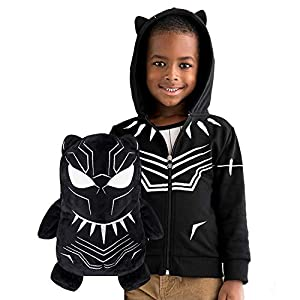 Cubcoats Black Panther – 2-in-1 Transforming Hoodie and Soft Plushie – Black with White Accents