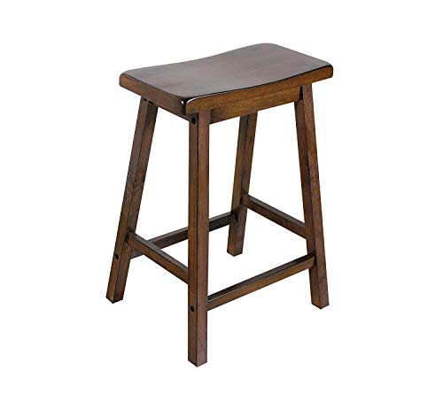 - ACME Set of 2 07304 Gaucho Stool, Walnut Finish, 24-Inch