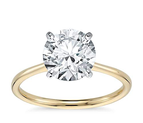 Parade of Jewels 14K Solid Yellow Gold 3.0 Carat Solitaire CZ Engagement Ring, Size 8 ()