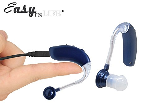Dark Blue,New behind-the-ear (BTE) Digital Hearing Ear Amplifier Kit By EASYUSLIFE, Rechargeable and Interchangeable, Adjustable Volume Control, Suitable For Men and Women by EASYUSLIFE (Image #1)