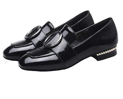 Zapatos Tacón Tacón Sin Negro Agoolar Sólido Mujeres De Charol Mini Gmxdb007067 Cordones pnaq0z1