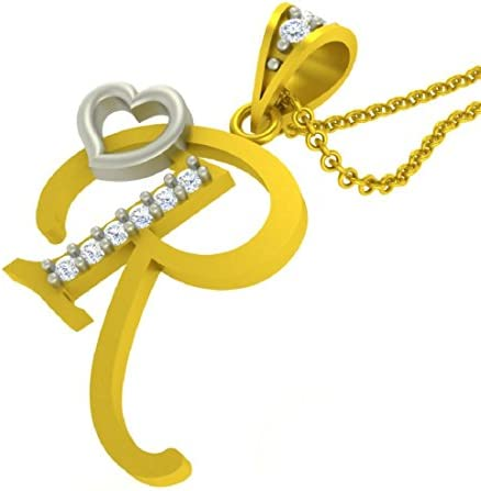 Buy Kanak Jewels Alphabet Letter R With Heart Yellow Gold