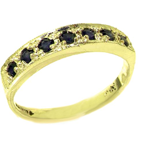 Solid 10k .417 Yellow Gold Natural Sapphire Womens Band Ring - Sizes (Golden Yellow Sapphire)