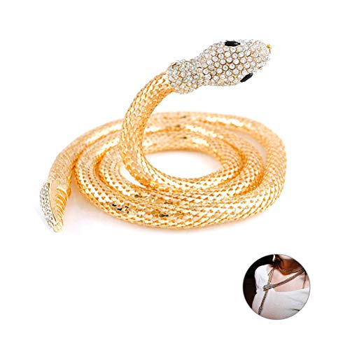 (MUZHE Flexible Bendable Snake Jewelry Necklace Gothic Magnetic Choker Necklace - Versatile Can Used As Waistb and Bracelet (Yellow))