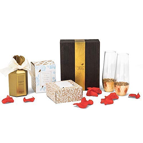 Chocolate and Champagne Gift Set with Godiva Chocolate Truffles, Two Gold Champagne Flutes, Glass Jar Candle, Rose Petals ()