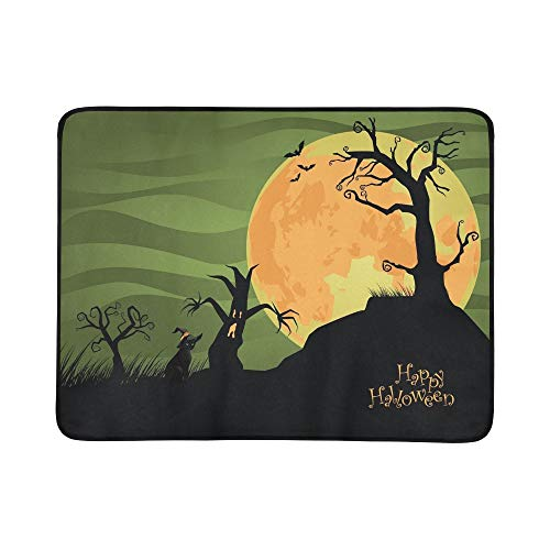 GIRLOS Creepy Halloween Trees Cat Jpg Portable and Foldable Blanket Mat 60x78 Inch Handy Mat for Camping Picnic Beach Indoor Outdoor -