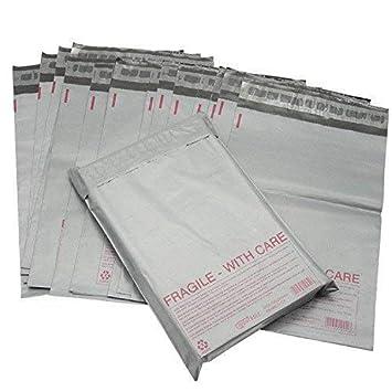 Bolsas para envíos postales de polietileno resistente, color gris con frágil rojo