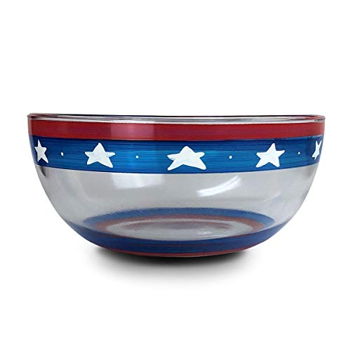 Golden Hill Studio Hand Painted Lg Serving Glass Salad Bowl Patriotic Collection Unique Glassware by USA Artists, 11 inch Diameter, 4th of July Décor
