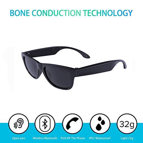 (Waterproof Bone Conduction Bluetooth 4.0 Polarized Sunglasses Wireless Smart Headset Sport Black)