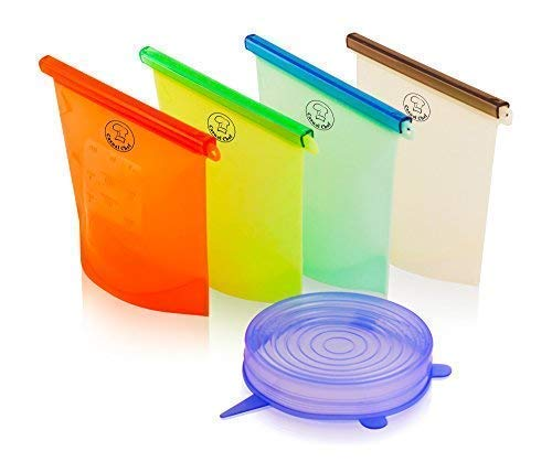 CasualChef Reusable Silicone Food Storage Bags - Set of 4 Vacuum-Sealed Food Containers | Never Waste Money On Plastic Bags Again | Keep Fruits And Veggies Fresh | EXTRA Stretchable Lid With Purchase