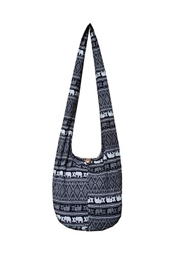 BTP! Ethnic Elephant Sling Crossbody Shoulder Bag Purse Hippie Hobo Thai Cotton Gypsy Bohemian Small (black) Beaded Hobo Purse Handbag