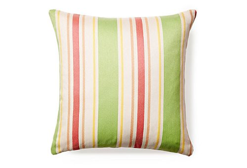 Rennie & Rose Outdoor/Indoor Fabrics Cayman/Stripe Outdoor Stuffed Pillow, 24-Inch, Green (Cayman Stripe)