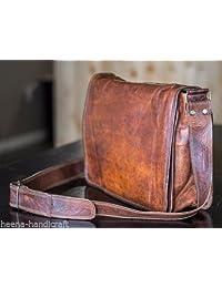Leather Full Flap Messenger Handmade Bag Laptop Bag Satchel Bag Padded Messenger Bag School Bag 13X10X4 Inches Brown