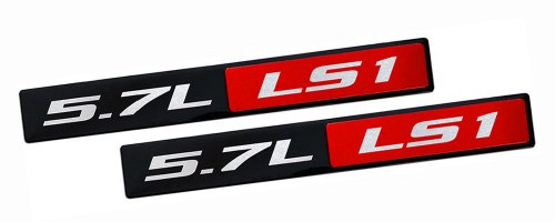 (ERPART RED BLACK 5.7L Liter LS1 Real Aluminum Engine Hood Emblem Badge Nameplate Crate for Compatible with Pontiac Trans Am Firebird WS6 Chevy Corvette C5 ZR1 Camaro Holden HSV (Pack of 2))