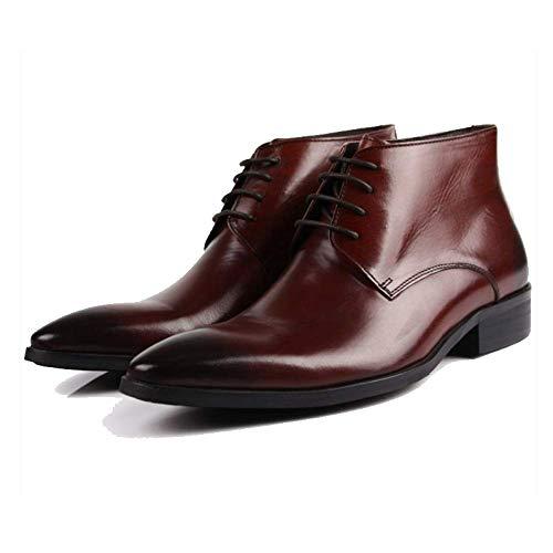 Scarpe in Pelle da Uomo Scarpe Alte in Stile Britannico Stivaletti da Lavoro Scarpe da Lavoro Scarpe Stringate Reddishbrown