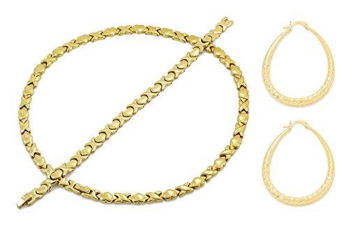 Hugs 18' (Bling Bling NY Womens Gold Finish Hugs & Kisses Necklace Bracelet Set With Oval Hoop Earring (Necklace 18'', Bracelet 7.5'' & Earring Set))