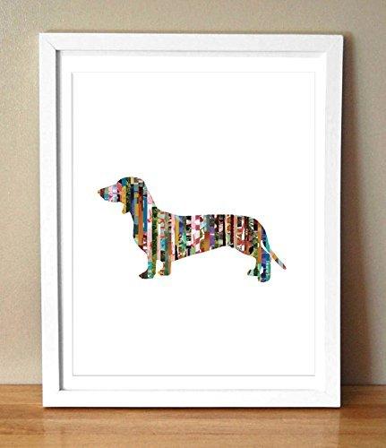 Original Dog Pop Art - Dachshund [Weiner Dog] Silhouette Magazine Strip Art Print