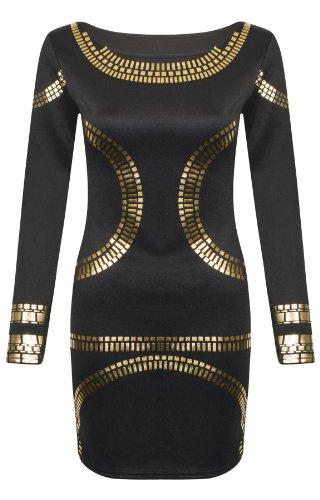 Womens Ladies Celebrity Kim Kardashian Plus Size Gold Foil Bodycon Mini Dress - Black - UK24 - (95% Polyester, 5% Elastane)