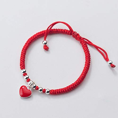 (Fashionable Sterling Silver Lucky Heart Charm Bracelets | Adjustable Red Line Thread String Rope Bracelets | for Women)