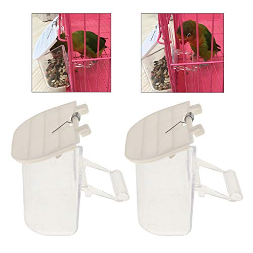 Agordo 2pcs Preventing Seed Food Splash Bird Automatic Feeder for Small Parrot