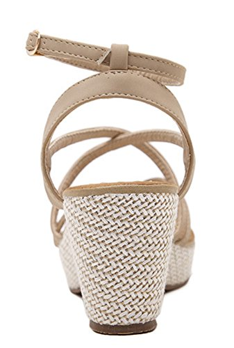 Mid Sandals apricot Ankle Aisun Wedge Strap Women's Stylish Heels xAwZqfI